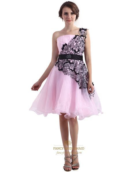Pink Organza One Shoulder Knee Length Prom Dress With