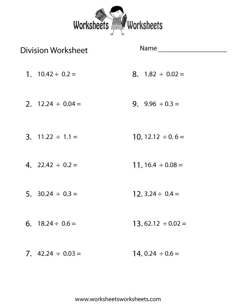 decimal division worksheet printable