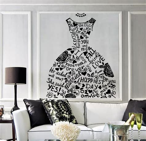 Wedding Dress Vinyl Fashion Decor Mural Bridal Shop
