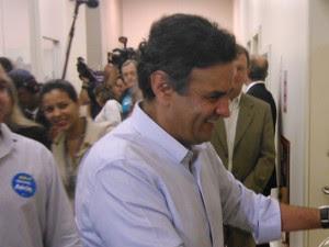 Aécio Neves participou de ato de campanha no Rio de Janeiro (Foto: Janaína Carvalho/ G1 RJ)