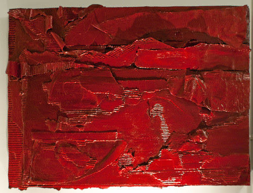 Ruby Horizon, ruby red maroon acrylic on cardboard sculptural bas-relief painting assemblage