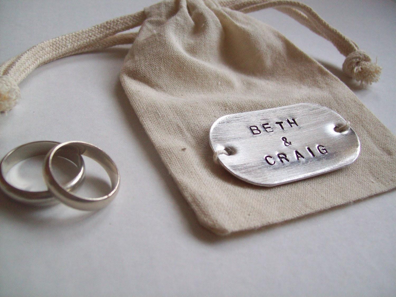 CUSTOM NAME... Cotton and Metal Custom names Wedding ring bag