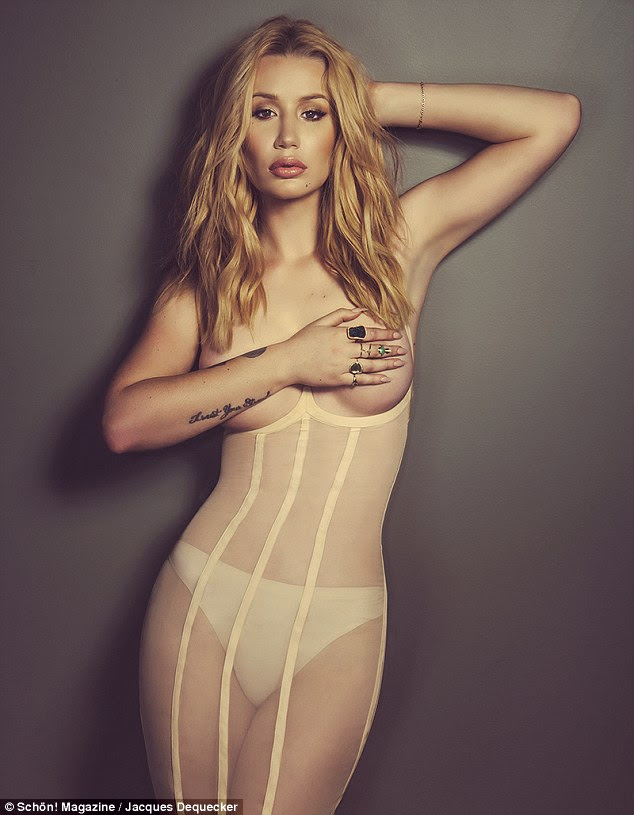 Stripped back and stripped off: Iggy Azalea poses topless in a nude slip for a new shootfor Schön! Magazine
