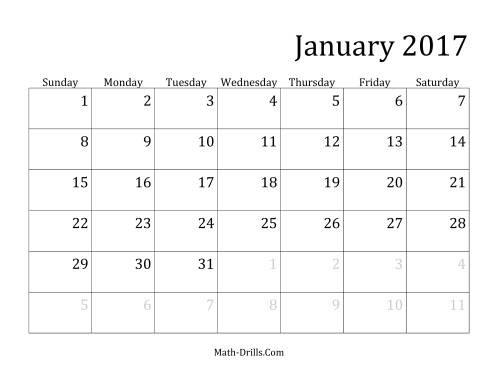 January 2017 monthly calendar