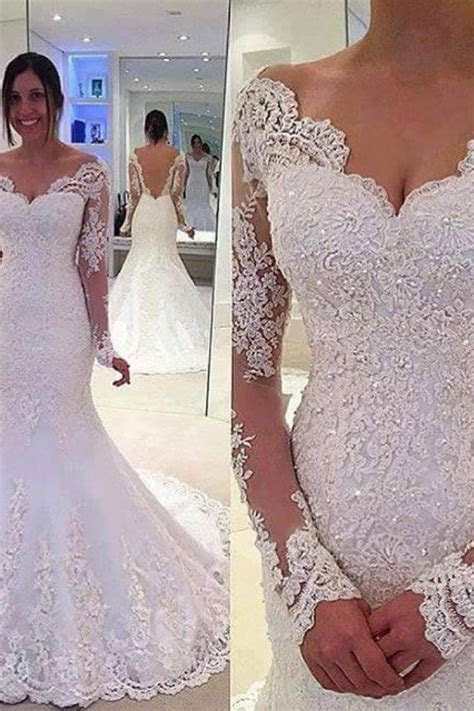 Elegant Off the Shoulder Long Sleeves Bridal Gowns Lace