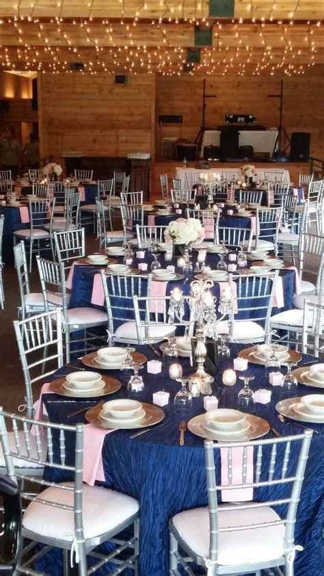 Navy blue, silver, and blush pink wedding. Candelabras