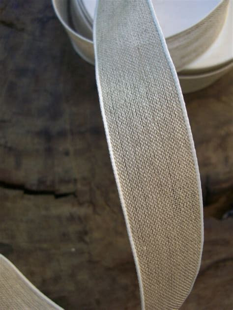 "Linen Ribbon with White Edge 1"" x 22yds"
