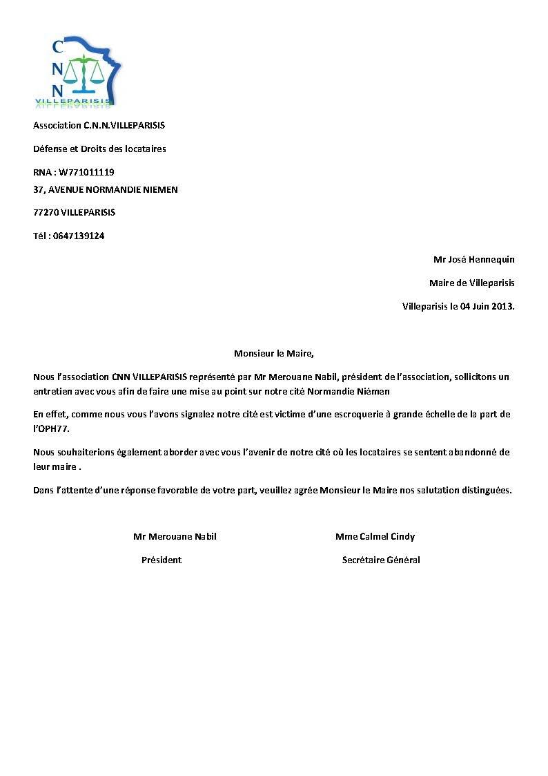 Lettre Demande De Rendez Vous Au Maire - Exemple de Lettre