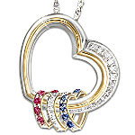 Forever In A Mother's Heart Birthstone And Diamond Pendant