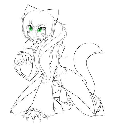 feral catgirl outline  xchronokitty  deviantart