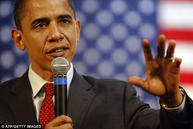 Bright eyes: Then-senator Obama is pictured speaking during a town hall meeting in San Antonio, Texas in March of 2008