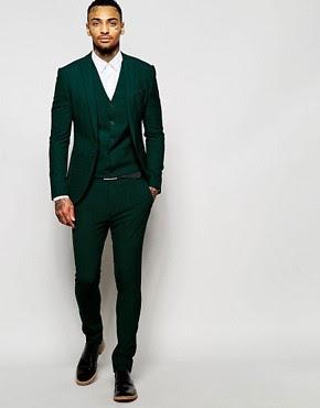 Traje de corte muy entallado en verde de ASOS