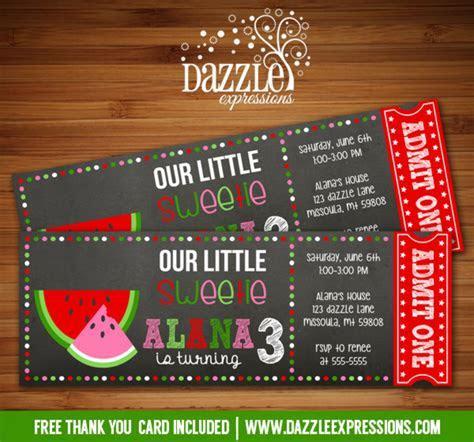 Printable Watermelon Chalkboard Ticket Birthday Invitation