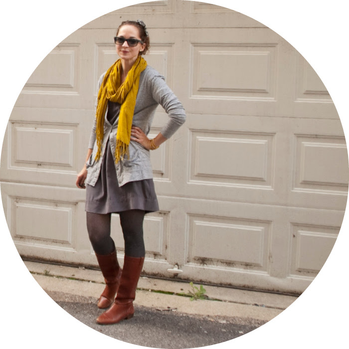 dash dot dotty, silk dress with tights, cardigan, headband, ochre, gray and gray, more gray too, outfit blog