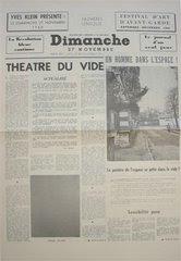 Dimanche, le journal d'un seul jour-November 27, 1960, Paris: Festival d'Art d'Avantgarde, by Yves Klein