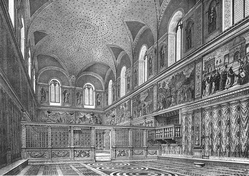 File:Cappella sistina, ricostruzione dell'interno prima degli interventi di Michelangelo, stampa del XIX secolo.jpg