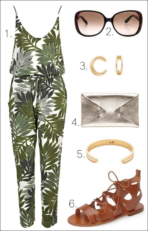 Le Fashion Blog Must Have Summer Style Palm Print Jumpsuit Sunglasses Ear Cuffs Metallic Clutch Gold Cuff Leather Flat Gladiator Sandals