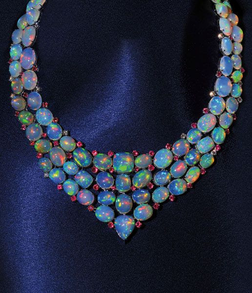 Ethiopian Opal Necklace. I believe this is the most beautiful piece of jewelry I have ever seen.  To wear somewhere super super fancy.