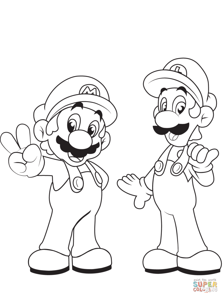Luigi with Mario coloring page | Free Printable Coloring Pages