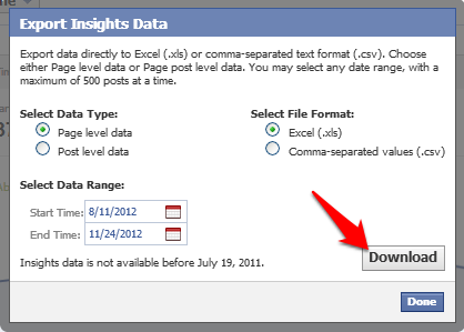 facebook page stats report download
