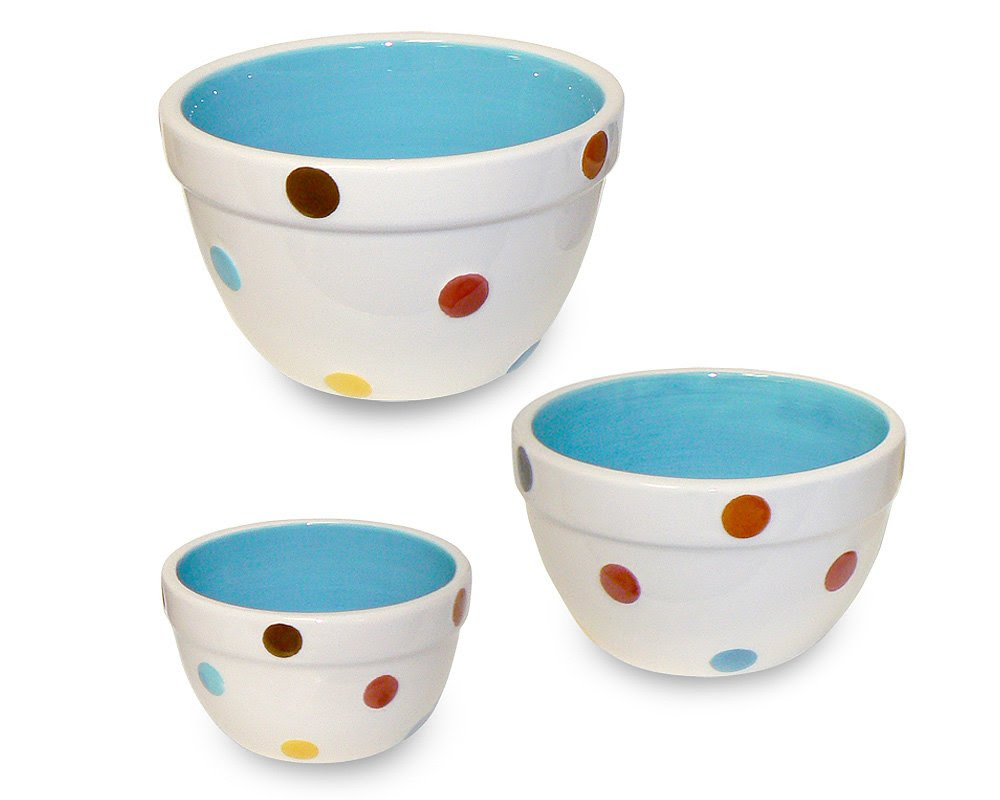 Terramoto Ceramic 3-Piece Polka Dots Prep Bowl Set, Multi Color Blue | Terramoto Ceramic