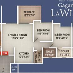 Floor plan of a 2 BHK Flat - Gagan LaWish 1 BHK 2 BHK 2.5 BHK Flats Pisoli Pune 411028