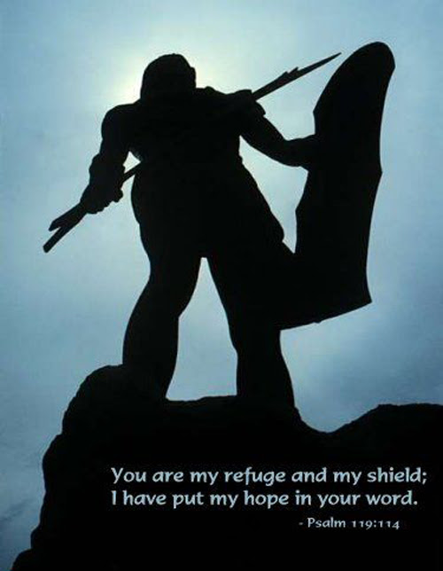 [Photo of knight with a shield with a Scripture verse superimposed]