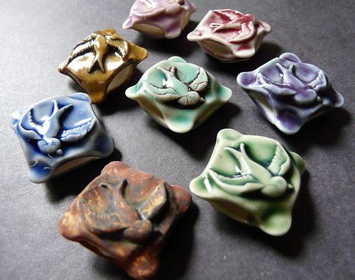 Porcelain Bird Pillow Beads