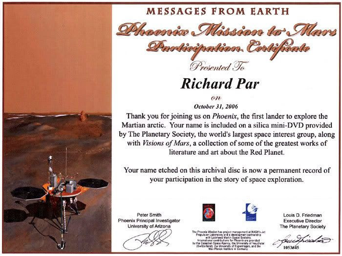 A certificate commemorating the fact that my name is now freezing on the North Pole of Mars.
