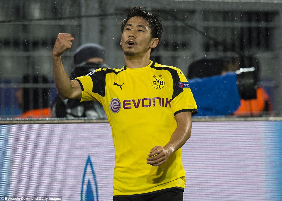 Shinji Kagawa ruled out Legia Warsaw's opener in the 17th minute after latching onto French teenager Dembele's pass