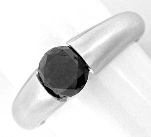 Original-Foto 1, BRILLANT-SPANN-RING SCHWARZER DIAMANT 1,33ct LUXUS! NEU