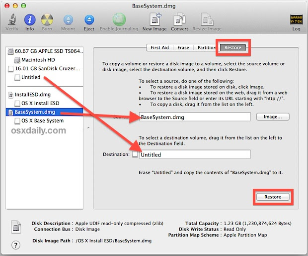 Create the OS X Mavericks Boot Installer drive