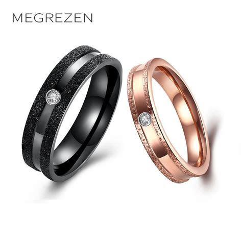 MEGREZEN Couple Rings Vintage Decoration Wedding Rings