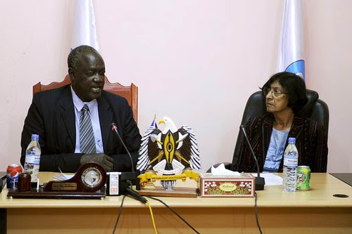 United Nations Human Rights Commissioner Navi Pillay and Kuol Manyang Kuuk, Governor of Jonglei State in the Republic of South Sudan, during a visit to the newly-independent country. Jonglei has experienced large-scale dislocation since 2011. by Pan-African News Wire File Photos