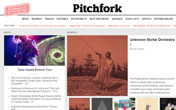 pitchfork media website blog magazine-theme layout