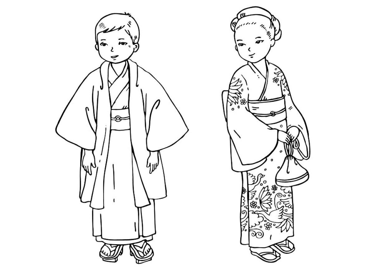 Boyama Sayfası Japon çocuklar