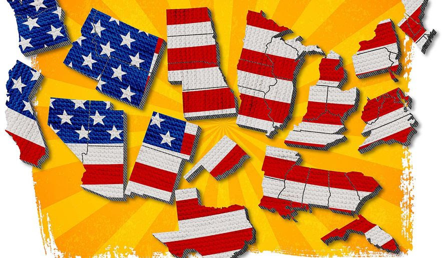 States Coming Apart Illustration by Greg Groesch/The Washington Times