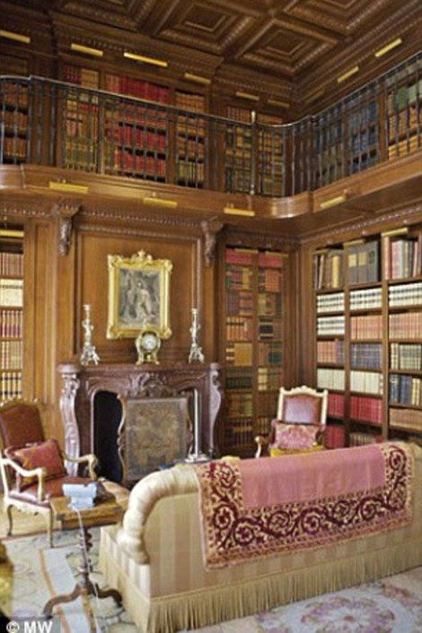 It also includes a two-storey wood-paneled library stocked with first-edition books