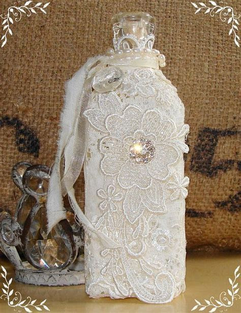 Vintage Bottle Embellished with Lace, Pearls and
