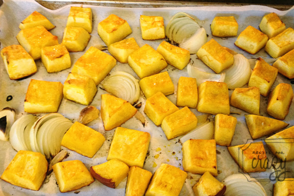 Roasted pumpkins and onions