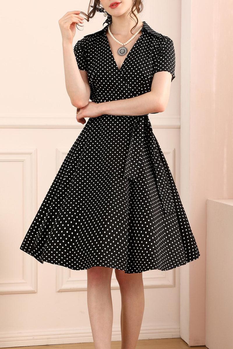 1950er jahre schwarz weiße punkte kleid