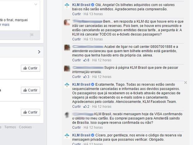 KLM responde a clientes em rede social após erro em oferta de passagens a preços muito baixos (Foto: Reprodução/Facebook)