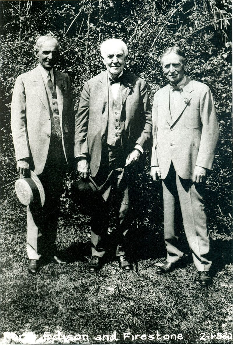 From Left to Right: Henry Ford, Thomas Edison, and Harvey Firestone. Photo Credit