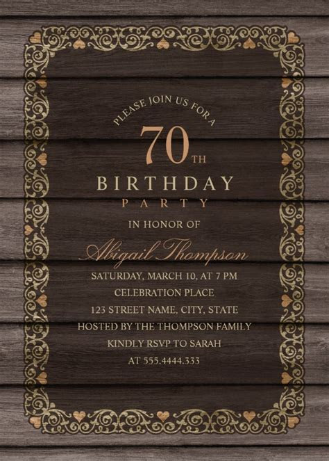 Fancy Wood 70th Birthday Invitations   Rustic Country
