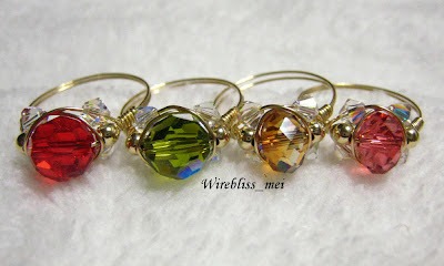 wire wrapped sparkly crystal rings