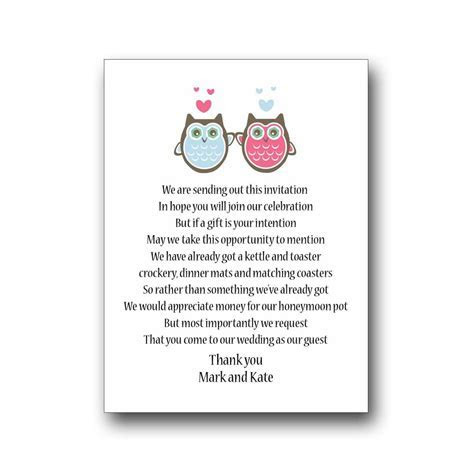 30 Wedding Poem Cards For Your Invitations Invites   Money