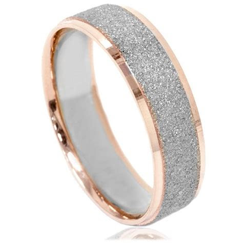 mens  tone wedding ring  white rose gold mm
