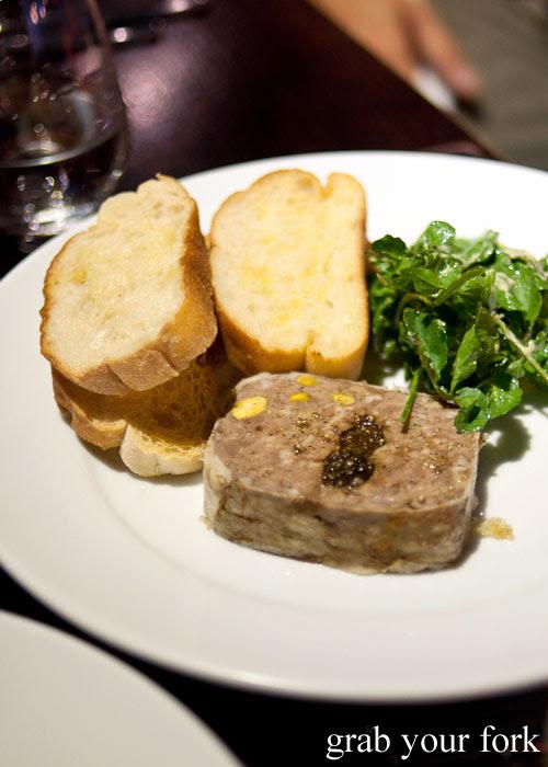 Pork, duck and pistachio terrine at Fix St James, Sydney