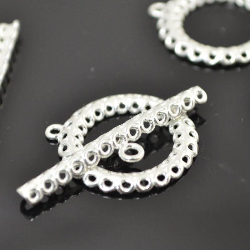 s49023 Findings - Toggle Clasp - 13 strand Multi-Strand Toggle - Bright Silver