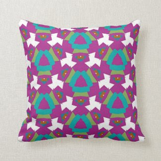Throw Pillow in Magenta and Teal Geometric